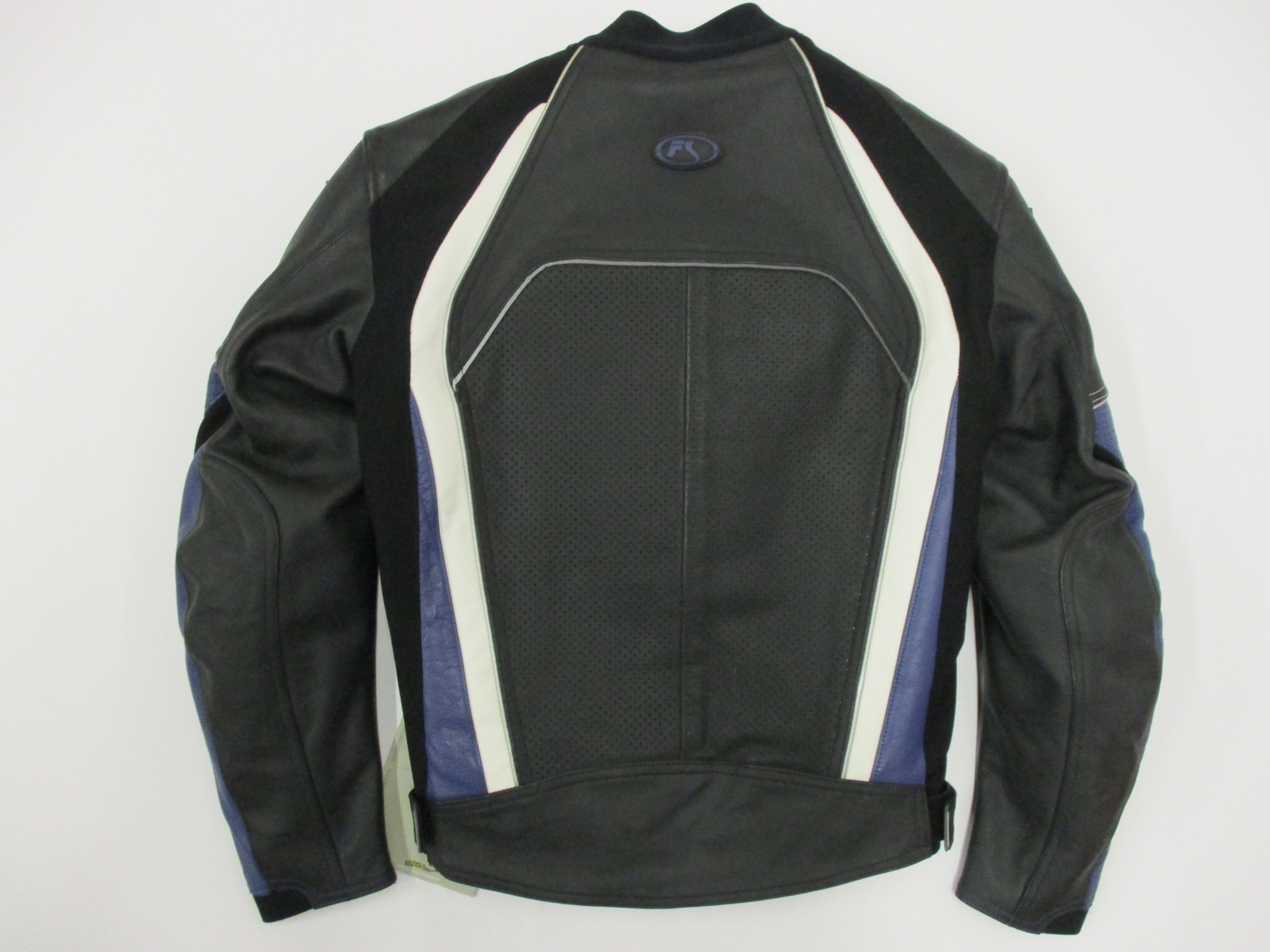 Fieldsheer Razor Leather Motorcycle Jacket Black Blue Size